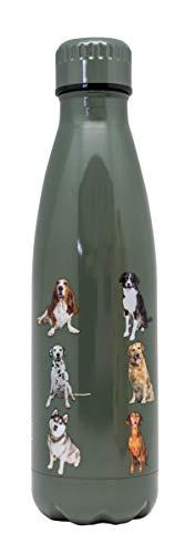 NERTHUS FIH 770 Botella Termo Doble Pared diseño Perros Color Verde 500ml, Acero Inoxidable, Libre de BPA, 18/8, 500 ML