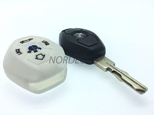 Silicone de Haute Qualité à distance 3/4 boutons FOB Housse de protection pour BMW 3 E35 E46 E90 E39 38 36 E91 E60 65 66 67 E61 E53 BMW 3 5 6 7 modèle de la série M Sport 3 M3 M5 X5 X6 7 Z3 Z4 (Blanc)