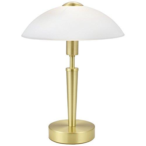 EGLO Lampe à poser Solo 1, 1 lampe de table à flamme, matériau : acier, couleur : laiton mat, verre : blanc satiné, douille : E14, variateur tactile inclus