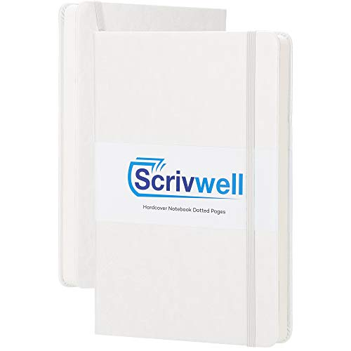 Scrivwell Dotted A5 Hardcover Notebook - 208 Dotted Pages with Elastic Band, Two Ribbon Page Markers, 120 GSM Paper, Pocket Folder - Great for Bullet journaling - White