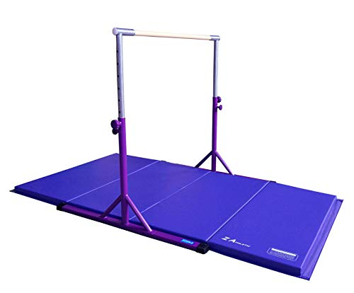Z ATHLETIC Expandable Kip Bar Adjustable Height for Gymnastics, Training & 4ft x 6ft x 2in Mat (Purple & Blue)