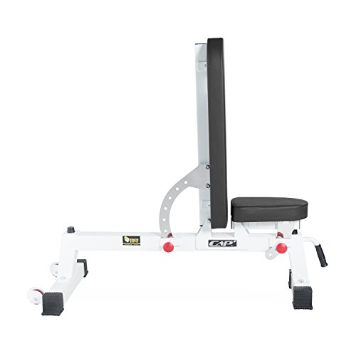 CAP+ Commercial Grade Three-Way Utility Bench - Adjustable Weight Bench Heavy Duty Workout Bench for Full Body Workout (White)