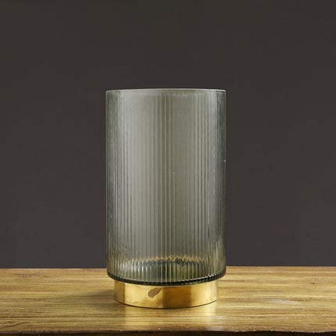 フィルタ一緒予約メタルベース、リビングルーム、キッチン、家庭、オフィス、結婚式のための現代のシンプルなデスクトップ装飾フラワーベースとガラス広口花瓶,Large