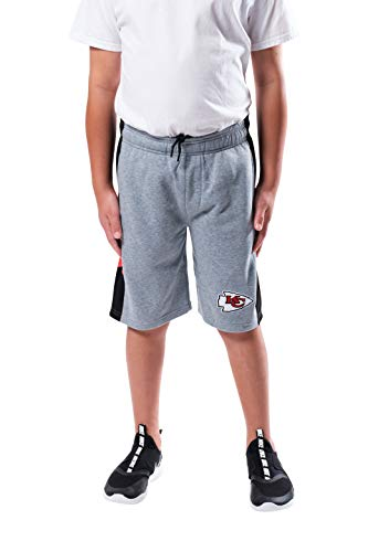 Ultra Game NFL Kansas City Chiefs Youth Workout Training Shorts, Heather Gray, Large