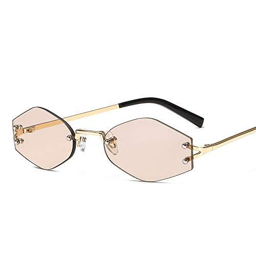 Damen Sonnenbrille Trend Sonnenbrille Sommer Sonnencreme Sonnenbrille Flachspiegel Sonnenbrille Schatten Brille-Champagner Champagner Rahmen