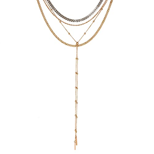 N/A European and American Accessories Street Style Necklace Deep V Multi-Layer Chain...