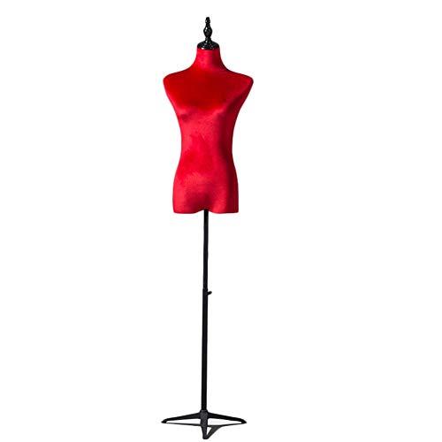 ZAQI Maniqui Costura Modista Busto Forma de Vestido Rojo Femenino, Torso de Medio Maniquí de Mujer Pequeña para Ropa, Vestido de Novia, Altura Ajustable 130-180 Cm (Color : A)
