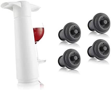 Vacu Vin Wine Saver Pump with 2 x Vacuum Bottle Stoppers White with 4 Wine Stoppers product image