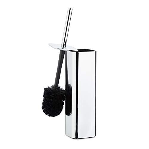 Relaxdays Escobilla de Baño Soporte Pared, Escobillero, Portaescobillas WC, Metal, 1 Pack, 38,5x8x8 cm, Plateado/Negro