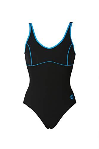 ARENA W Tania Clip Back - Bañador Deportivo para Mujer, Mujer, 000911, Negro/Turquesa, 40