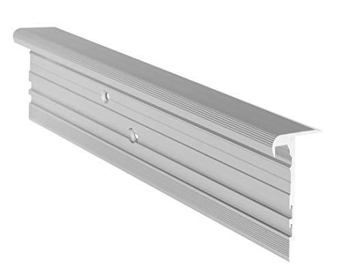 RenoProfil 100 cm Treppenprofil MULTIVERSAL-32 für alle Bodenbeläge von 6-22 mm - Treppenkantenprofil für Treppenverkleidung und Treppenrenovierung - Farbe: Silber-Natur