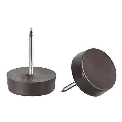 Muebles patas de uñas de plástico Glide para silla, mesa, patas protectoras, 14 mm, diámetro marrón, 40 unidades