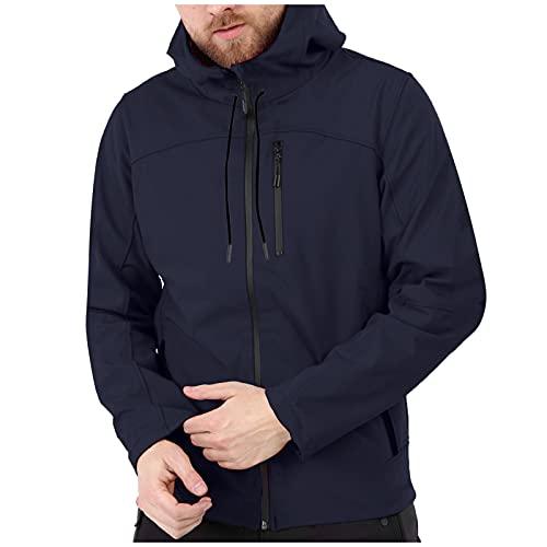Men's Plus Velvet Windbreak Autumn Sports Pure Color Zipper Hooded Long-sleeved Outerwear Jackets Waterproof Sweater