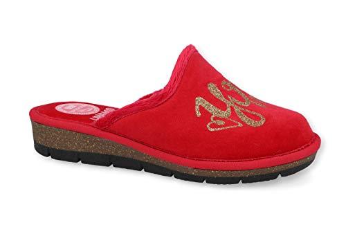 Linea Comoda - Zapatillas para Mujer, de Invierno, con Suela ecológica, Efecto Corcho, Arco Plantar Que Absorbe los Golpes, viscoelástica - 37 EU - Rojo