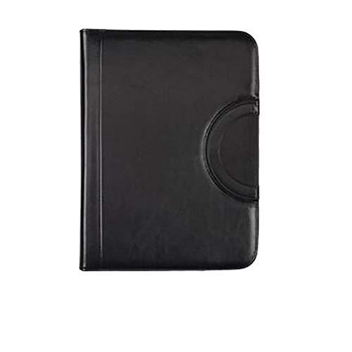 JIEIIFAFH A4 de Gama Alta de múltiples Funciones Carpeta de Archivos Cremallera Portátil PU Organizador de Documentos de Cuero Escuela de Oficina de Negocios Bolsa de Almacenamiento (Color : Black)