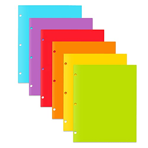 WOT I 2 Pocket and 3 Hole Letter Size for School Work and Home Plastic-Folders-with-Pockets Assorted Colors