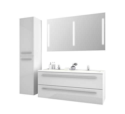 Jokey Badmöbel-Set Libato - 120 cm breit - Weiß Hochglanz - Badezimmermöbel Doppel-Waschtisch mit Unterschrank Spiegel mit Beleuchtung und Hochschrank Sieper