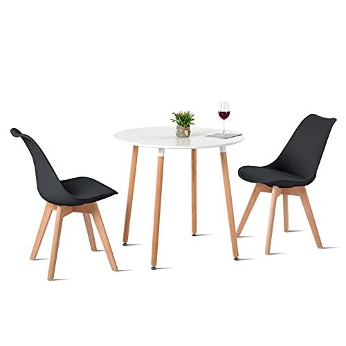 H.J WeDoo Esstisch mit 2 Stühle Essgrupp Holztisch und Schwarz Skandinavisches Stuhl Esstisch Set für Esszimmer Küche 80cm