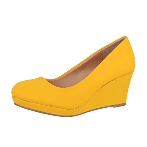 Elara Damen Pumps Keilabsatz Schuhe mit Plateau Chunkyrayan B8011 Senfgelb-35