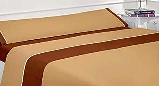 Regalitostv - MELISA - Juego Sábanas de Verano 90 Gram / Cm2 Lisas En dos Colores (3 Piezas) (150_x_200_cm, Marrón)