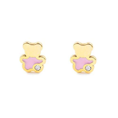 Pendientes Oro Bebe o Niña Oso esmalte rosa y circón (9kts)