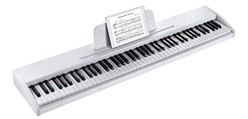 ZHRUNS Beginner Digital Piano Keyboard with 88 Key Full Size Semi Weighted Keyboard,Portable Electric Piano with 1 Sustain Pedal,Headphone Jack/USB/MIDI Capability/Audio Output/Power Supply (White)