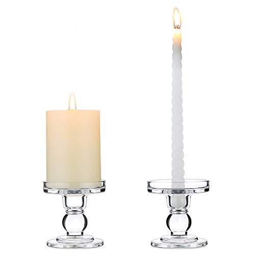 Nuptio 2 Stück Glas Taper & Pillar Kerzenhalter, 8cm Höhe Kristall Fenster Kerzen Stehen, Kerzenständer Glas für Hochzeit & Esstisch Mittelstücke Wohnzimmer Weihnachten Deko, Stumpenkerzen Halter