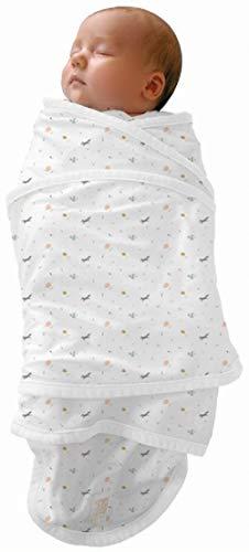 RED CASTLE Couverture bébé naissance d Emmaillotage, 100% coton, Apaise bébé, Possibilité Gigoteuse d emmaillotage, Couverture Miracle, 0-3mois, Motif Happy Fox