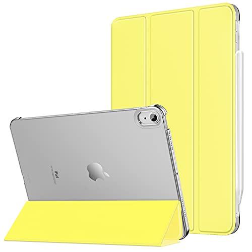 MoKo Funda para iPad Air 4ta Generación 2020 iPad 10.9 2020 Tableta, [Admite Carga Inalámbrica Apple Pencil] Trasera Transparente Ultra Delgado Soporte Protectora Plegable Cubierta, Amarillo Claro