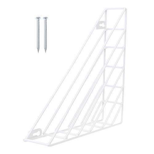 Yunso Zeitungshalter für die Wand, Desktop Lagerung Regal Dreieck Bücherregal Einfache Schmiedeeisen Lagerregal Nordischen Stil für Magazin Bücher (Weiß)