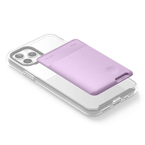elago Phone Card Holder - Secure Phone Wallet, Ultra Slim Card Holder for Back of Phone, 3M Adhesive ID Card for iPhone, Galaxy and Most Smartphones [Lavender]