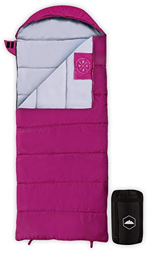 Tough Outdoors Kids Sleeping Bag for Girls, Boys, Youth & Teens - Perfect for Warm & Cool Weather Camping, Children's Sleepovers & Nap Time - 3-Season, Lightweight & Compact - Fits Kids up to 5'1'