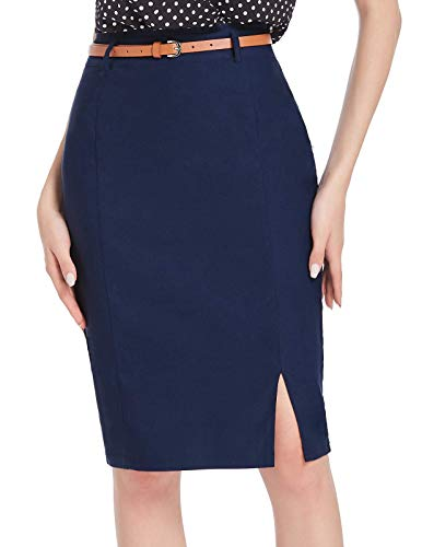Women's Casual Midi Bodycon Career Pencil Skirt with Belt Size M Navy Blue
