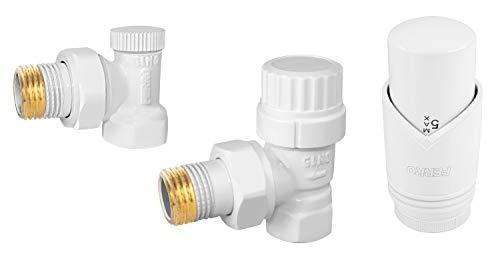 Diamond Termostato para radiadores | Válvula de control de ángulo de 1/2', válvula de cierre de ángulo de 1/2' | Para sistemas de agua fría, agua caliente y calefacción central
