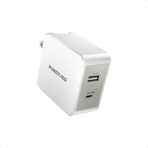 USB C Wall Charger,POWERADD 30W Dual Port Type C Charger with PD18W and Foldable Plug EnergyCharger PD II Compatible with MacBook, iPad Pro, iPhone 12/mini/SE/11Pro/XS/XR/X, Pixel, Galaxy and More
