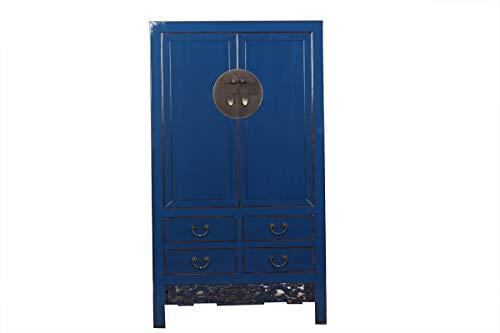 Yajutang Armario chino de boda con 2 puertas y 4 cajones, color azul