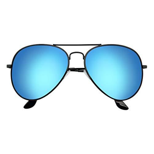 Emblem Eyewear - Aviador Gafas De Sol Vintage Espejo Lente Nuevo Hombres Mujeres Piloto Retro Marco De Moda (Polarizada   Negro azul)