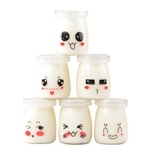 UPKOCH 6pcs Yoghurt Jars Pudding Jar with Lid Glass Container With Lid For Milk Jams Jelly Mousse Yogurt Making 100ml (Random Pattern)