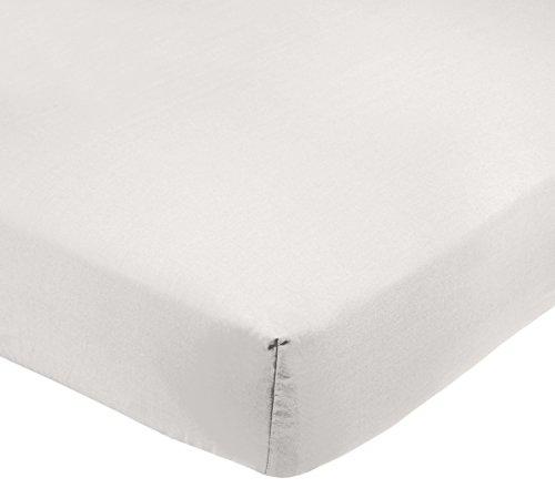 AmazonBasics - Sábana bajera ajustable (polialgodón 200 hilos) Blanco - 150 x 200 x 30 cm