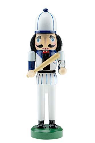 Clever Creations - schiaccianoci giocatore di baseball in legno - con uniforme blu e bianca, palla e mazza - decorazione natalizia - da collezione - 25,5 cm