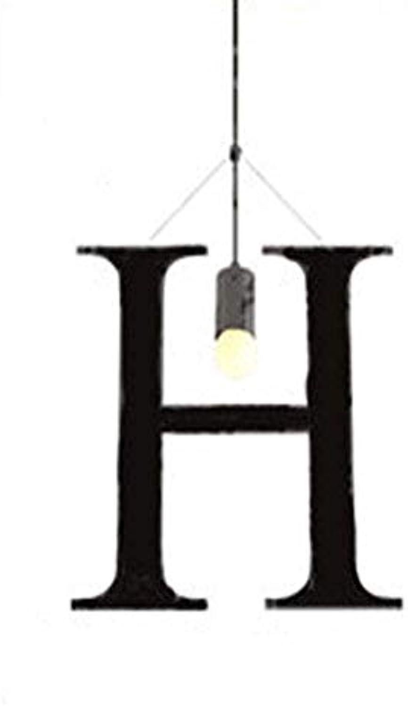 SGWH Englisch Alphabet Pendelleuchte Moderne Kreative Minimalismus Metall Pendelleuchte E27 Lampenfassung Diverse Spiel Modellierung Wohnzimmer Schlafzimmer Bar Cafe Hotel Dekorative Beleuchtung, H