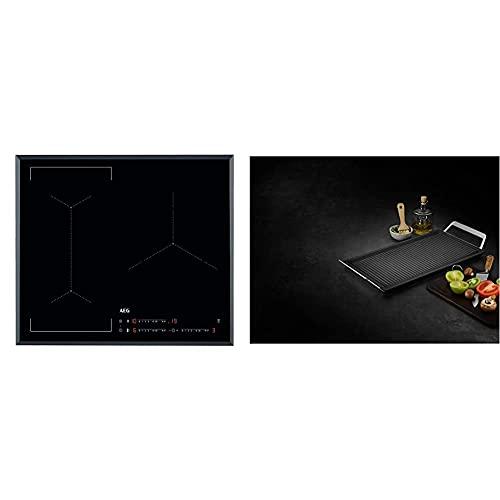 AEG IKE63441FB Placa inducción flexible, Biselada, Extraplana 3 zonas + A9HL33 Mastery Collection Plancha con asas, Acero Inoxidable