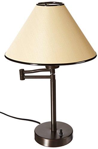 BOSTON HARBOR TB-8008-VB Swing Arm Adjustable Desk Lamp, 60 W, A19, 1 Pack, White Art Deco Swivel Lamp