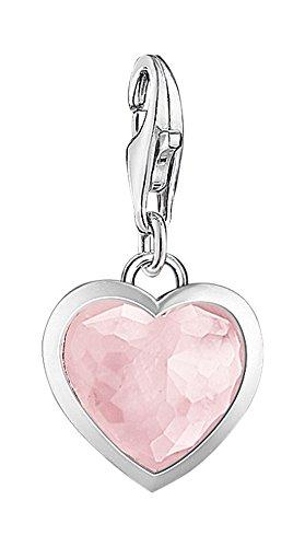 Thomas Sabo Damen-Charm-Anhänger Herz Charm Club 925 Sterling Silber Rosenquarz pink rosé 1361-034-9