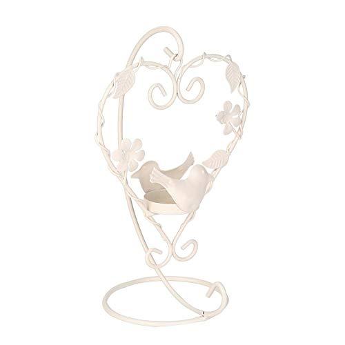 Bougeoir en Forme d'oiseau, Porte-Bougie Lanterne Suspendue, Lanterne de Table Porte-Bougie en Fer lanternes décoratives de Style Vintage, pour Le Bureau de Mariage à Usage(White)