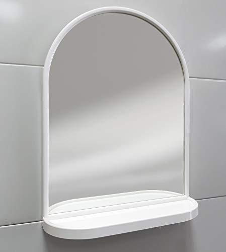 Arredobagnoecucine Miroir Miroir à dôme Bijoux avec étagère et Cadre en aBS, 44 x 58 x 13,5 cm