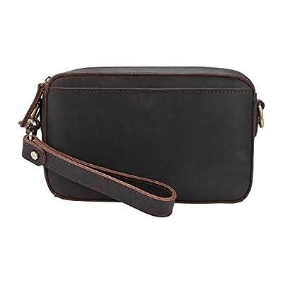 Tiding Vintage Leather Wallet Card Holder Clutch Purse Wristlet Bag for Men Zipper Handbag Organizer