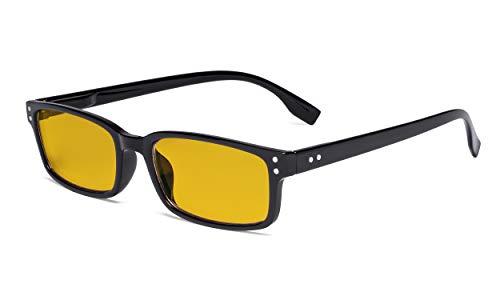 Eyekepper Blaulichtblockierung Brille mit bernsteinfarbener Filterglas - Computerbrille Damen Herren - Schwarz +0.50