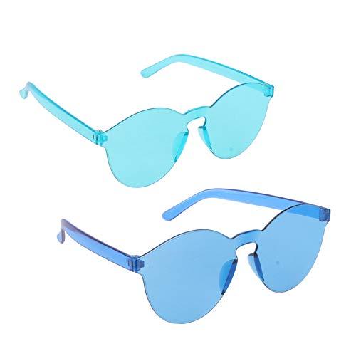 VALICLUD Gafas de Sol Vintage sin Montura Gafas de Fiesta Divertidas para Mujeres Hombres Gafas Teidas Utilera 2 Piezas