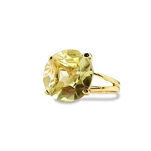 Round Cut Lemon Quartz Ring 14k Gold Band